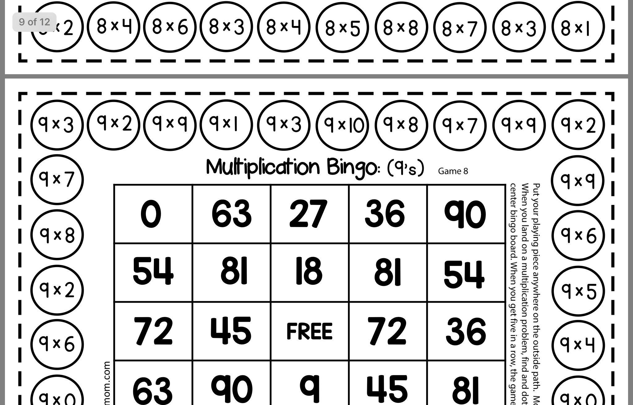 Multiplication Bingo   Multiplication Bingo, Multiplication