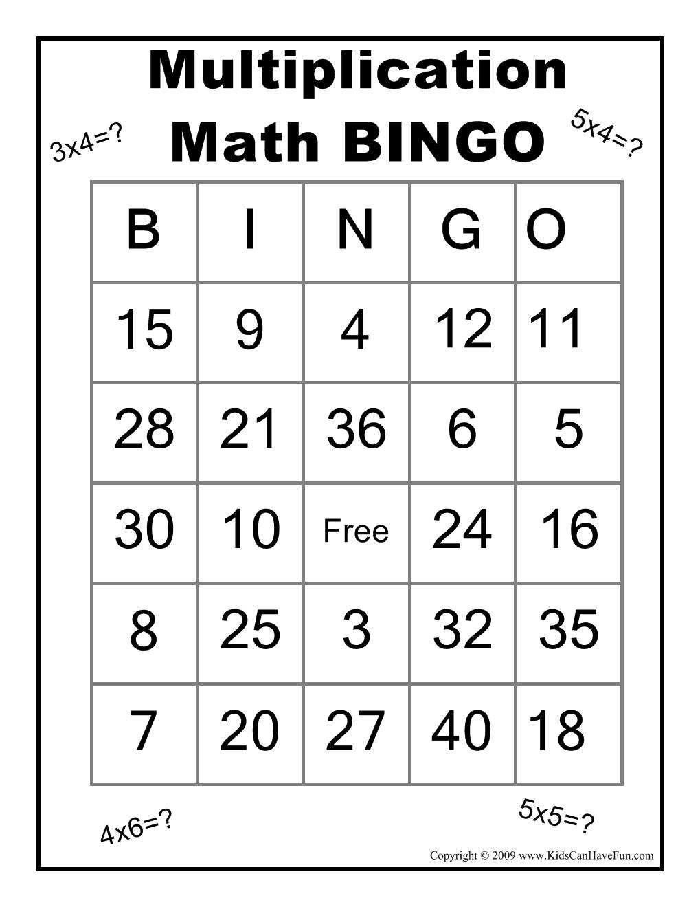 Multiplication Math Bingo Game Http://www.kidscanhavefun