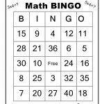 Multiplication Math Bingo Game   Wiskunde