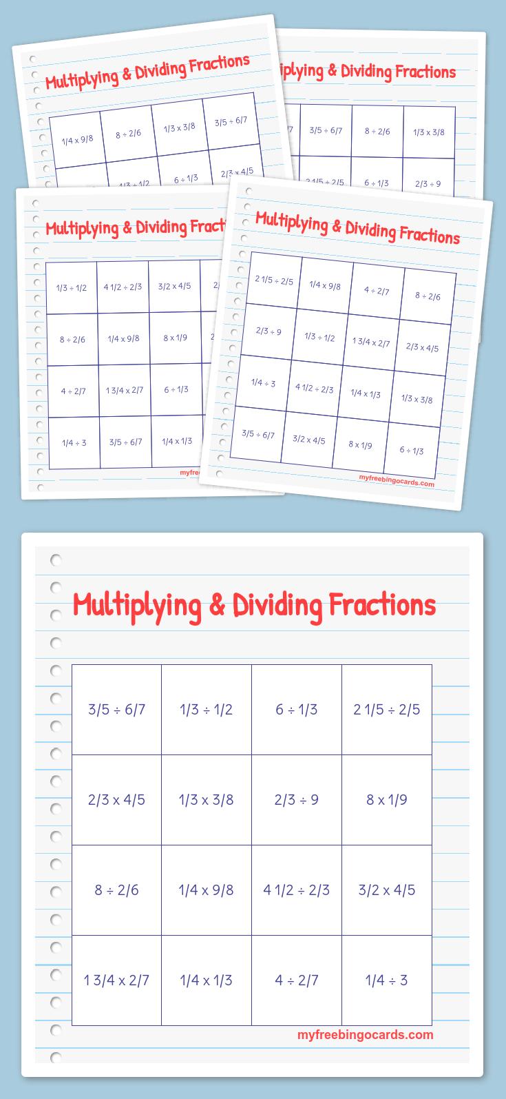 Multiplying & Dividing Fractions Bingo | Free Printable