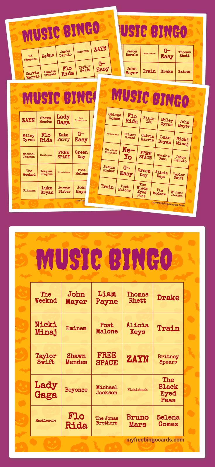 Music Bingo | Ra | Free Printable Bingo Cards, Halloween
