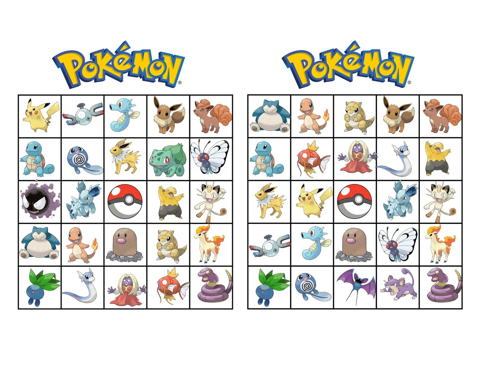 Musings Of An Average Mom: Pokemon Bingo
