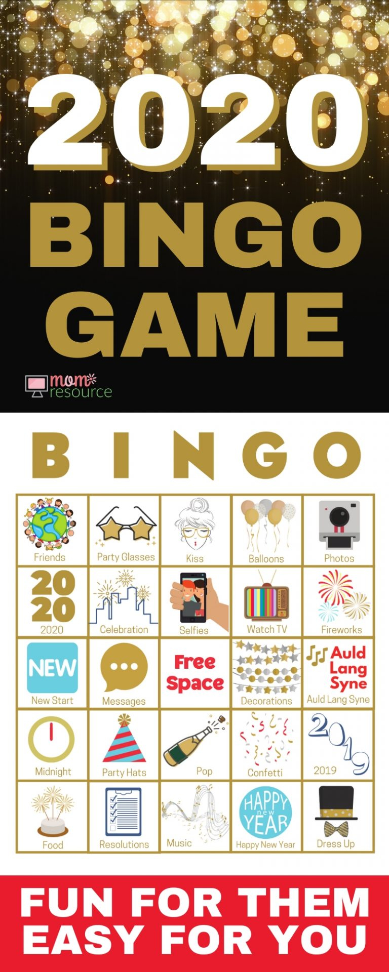 New Years Even Bingo Cards - Easy To Play, Modern & Fun