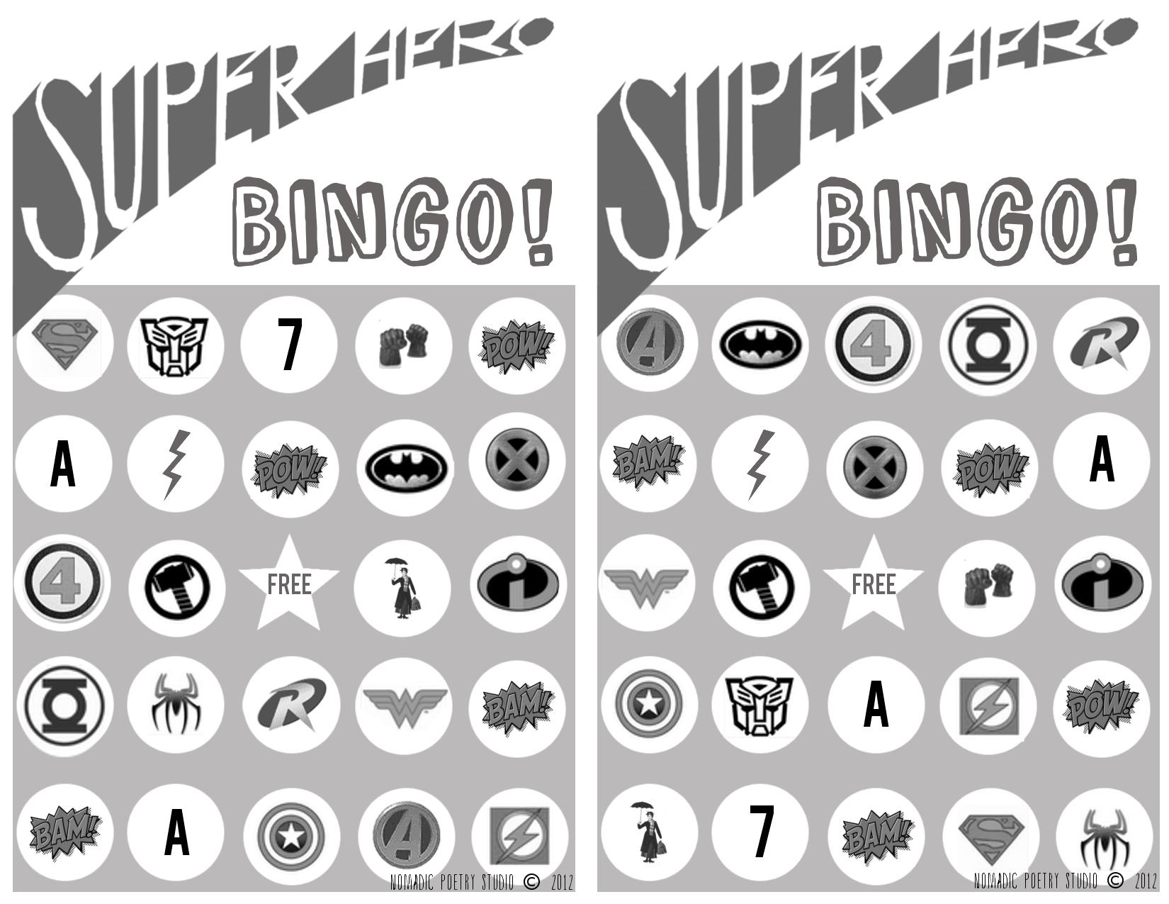 Nomadic Poetry Studio: Free Printable Super Hero Bingo Cards