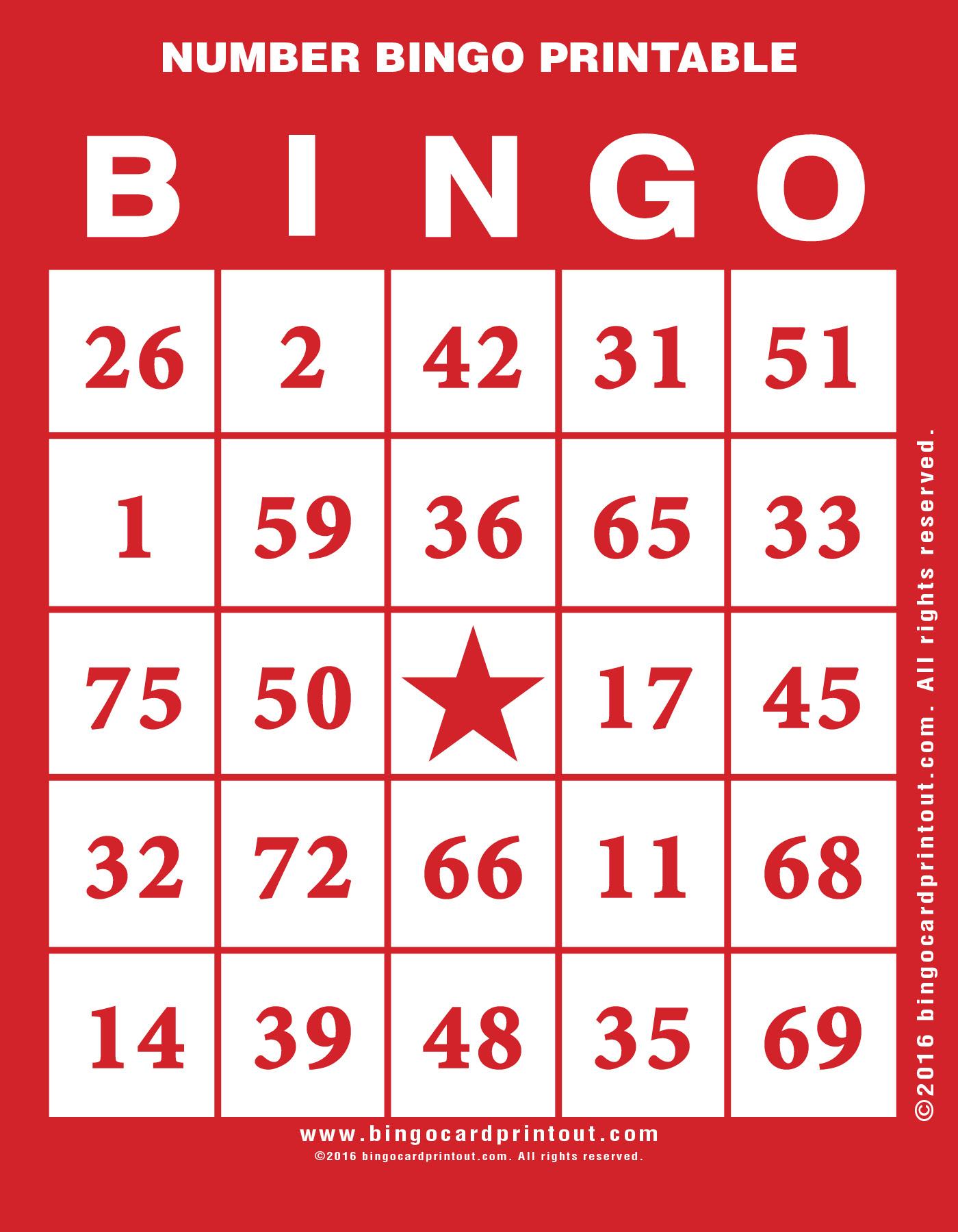 Number Bingo Printable - Bingocardprintout
