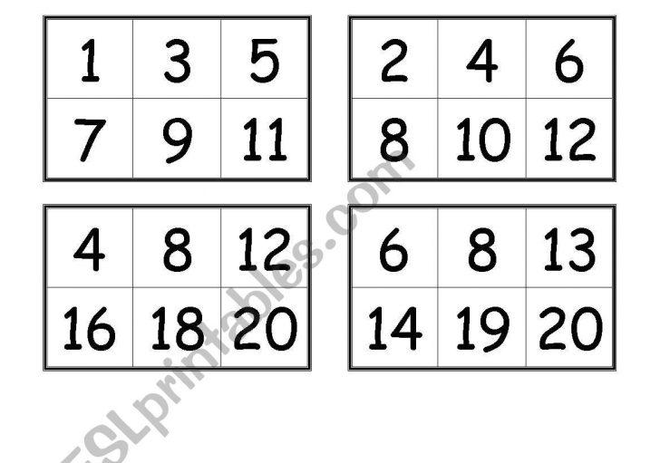 0-20 Number Bingo Cards Free Printable