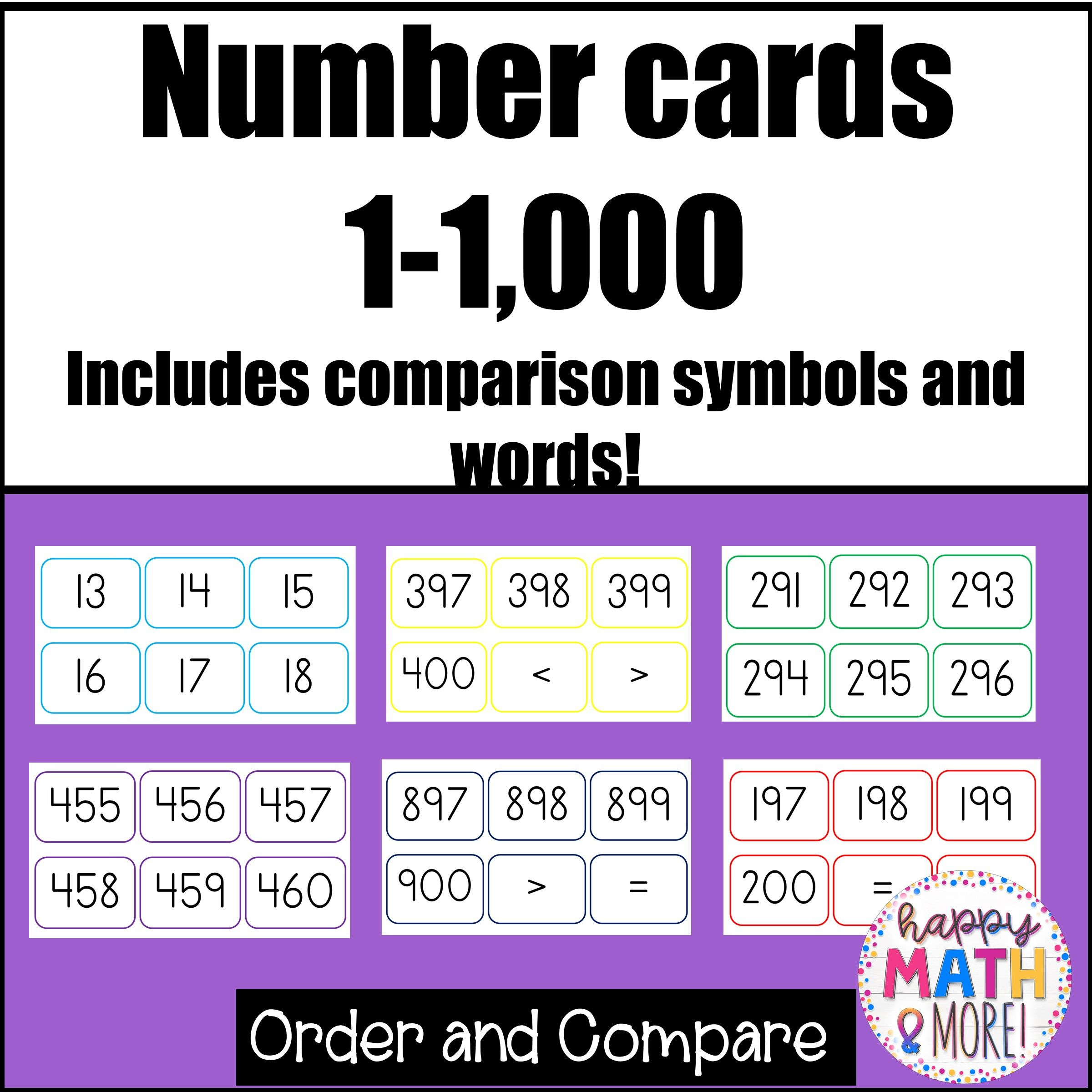 Number Cards 1-1,000 (With Images) | Upper Elementary Math