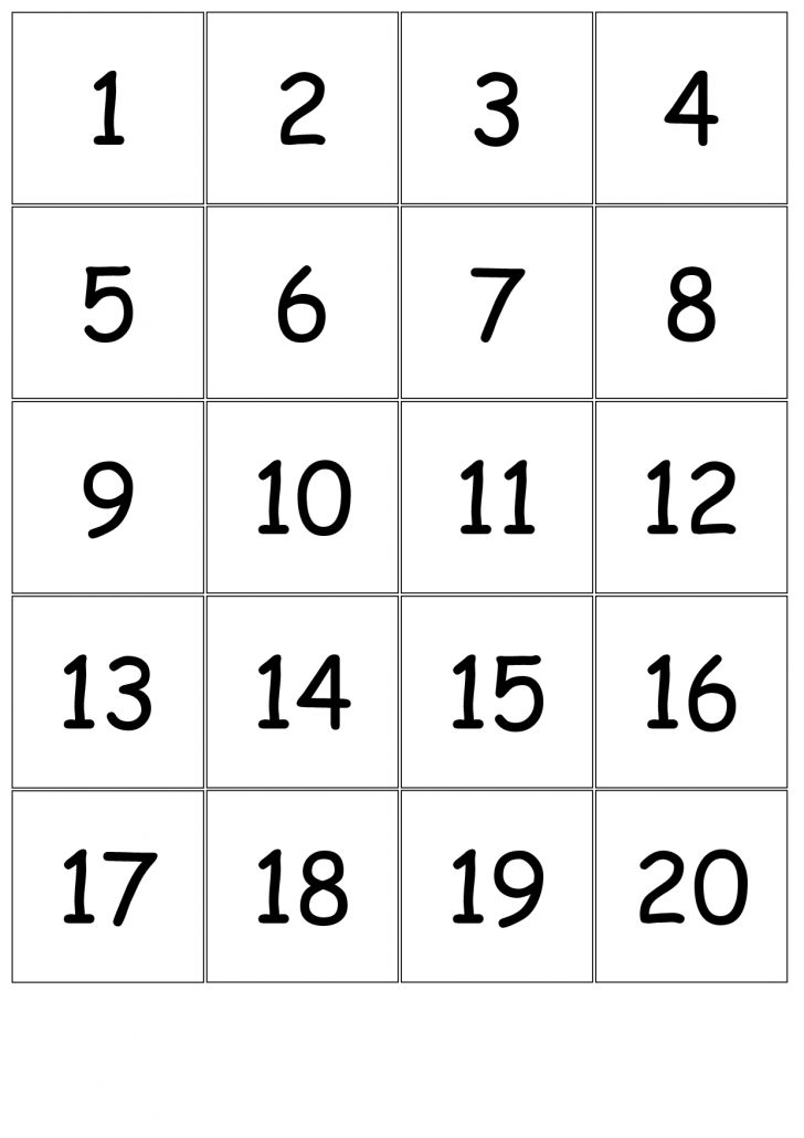 Printable Bingo Cards With Numbers 1-20