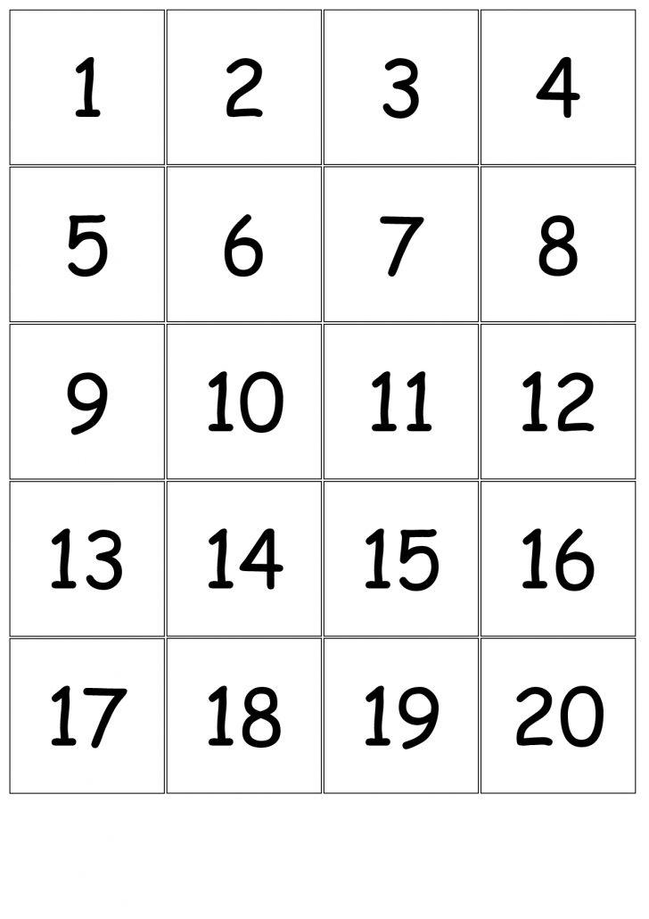 Printable Bingo Cards Numbers 1 20