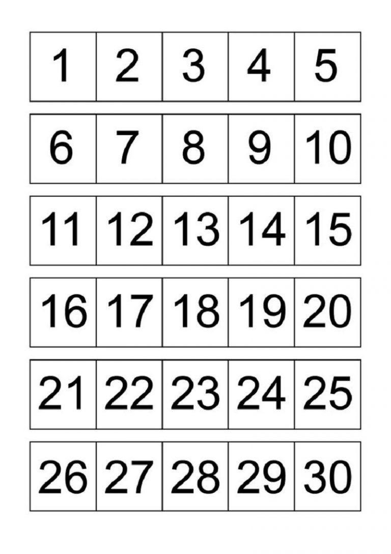 Numbers 1-30 For Kids | Printable Numbers, Free Printable