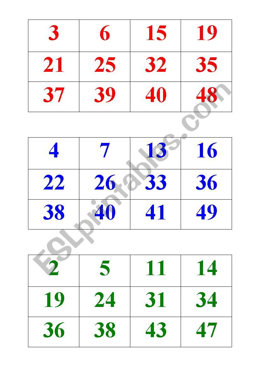 Numbers Bingo 1-50 - Esl Worksheetbritishlinecerkezkoy