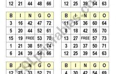 Numbers Bingo Cards – Esl Worksheetsatodude