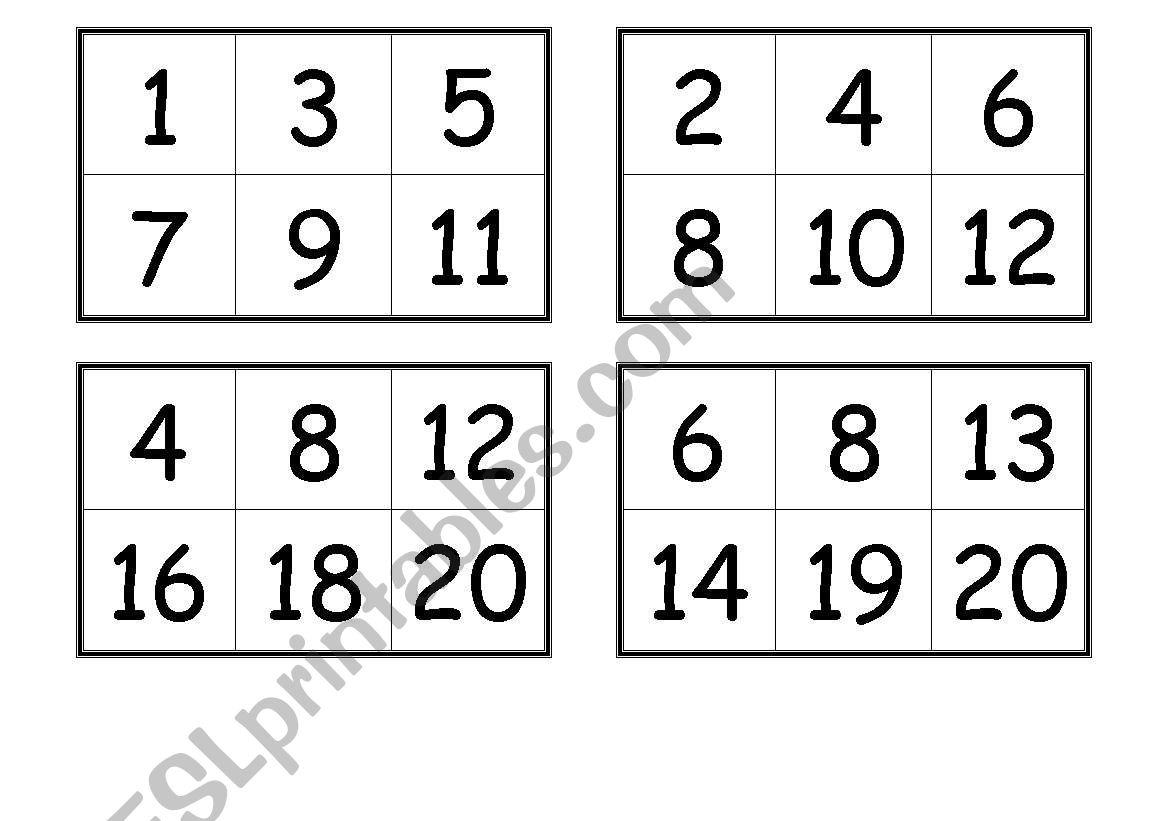 Numbers Bingo Cards (From 1 To 20) - Esl Worksheetcreguen