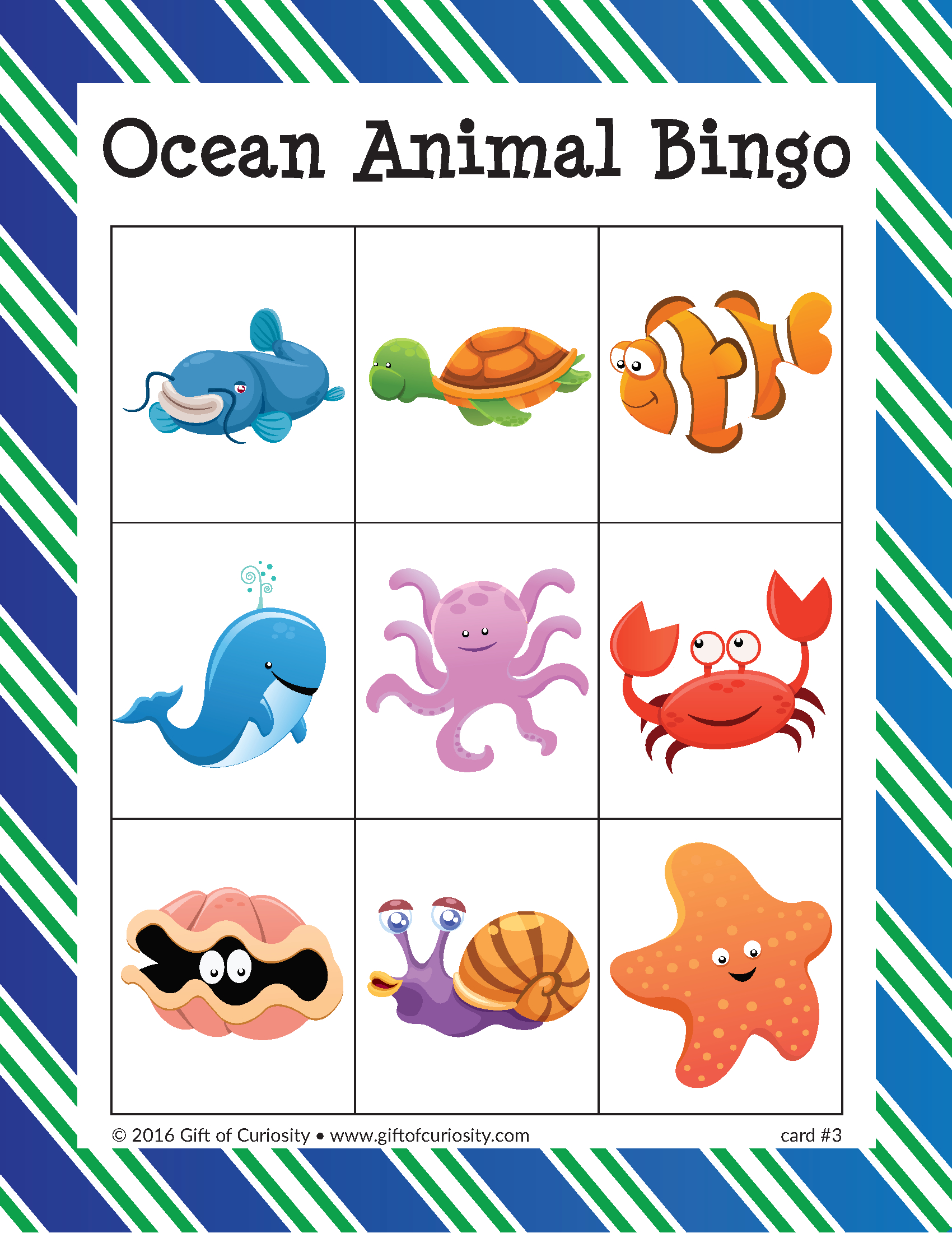 Ocean Animal Bingo - Gift Of Curiosity