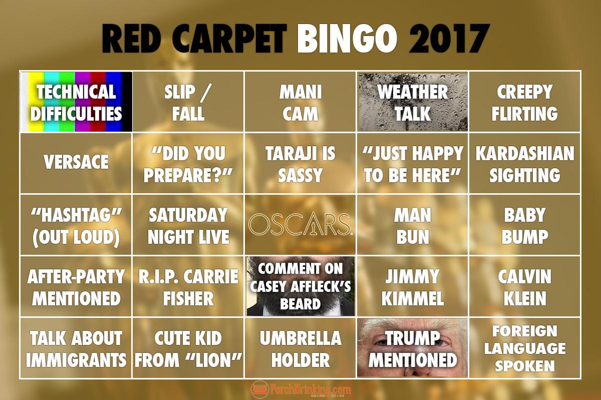 Oscars 2017   Red Carpet Oscars Bingo Cards