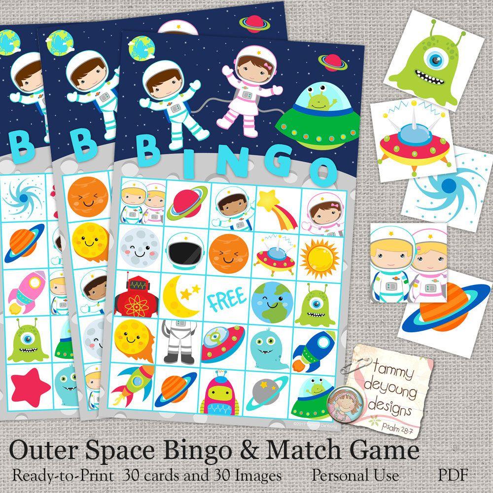Outer Space Bingo, Printable Astronaut Bingo Game, Instant