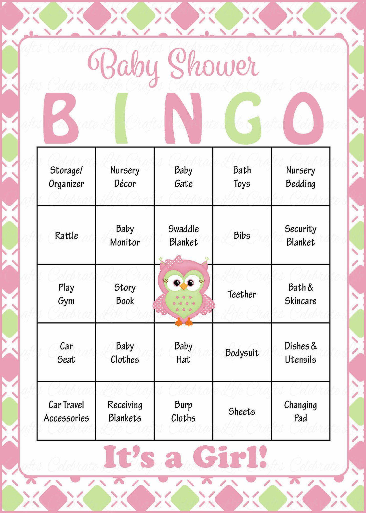 Owl Baby Bingo Cards - Printable Download - Prefilled - Baby