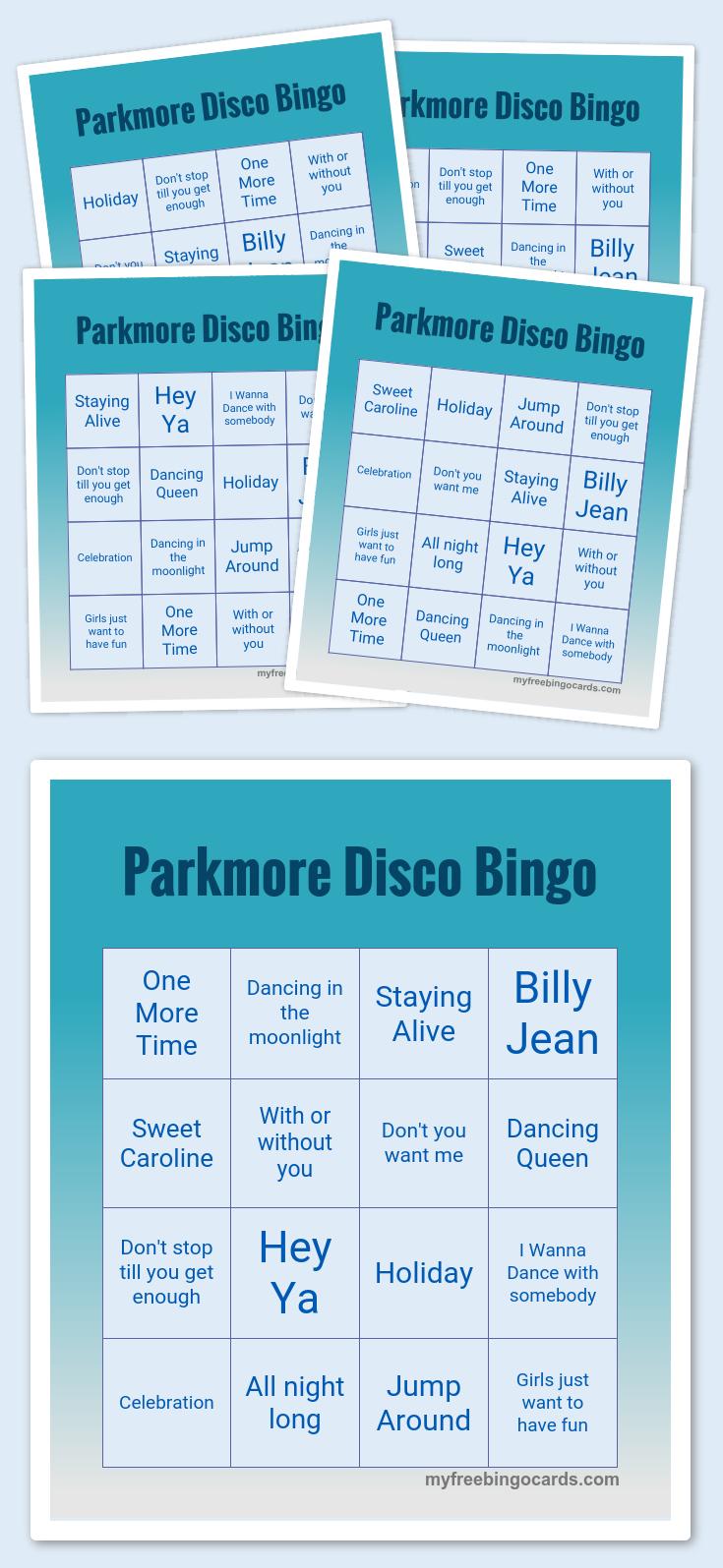 Parkmore Disco Bingo | Conference Call Bingo, Bingo Cards