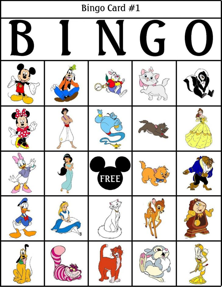 Free Disney Bingo Printable Cards