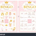 Pink And Gold Princess Baby Shower Party. Bingo Game