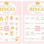 Pink And Gold Princess Baby Shower Party. Bingo Game. Printable..
