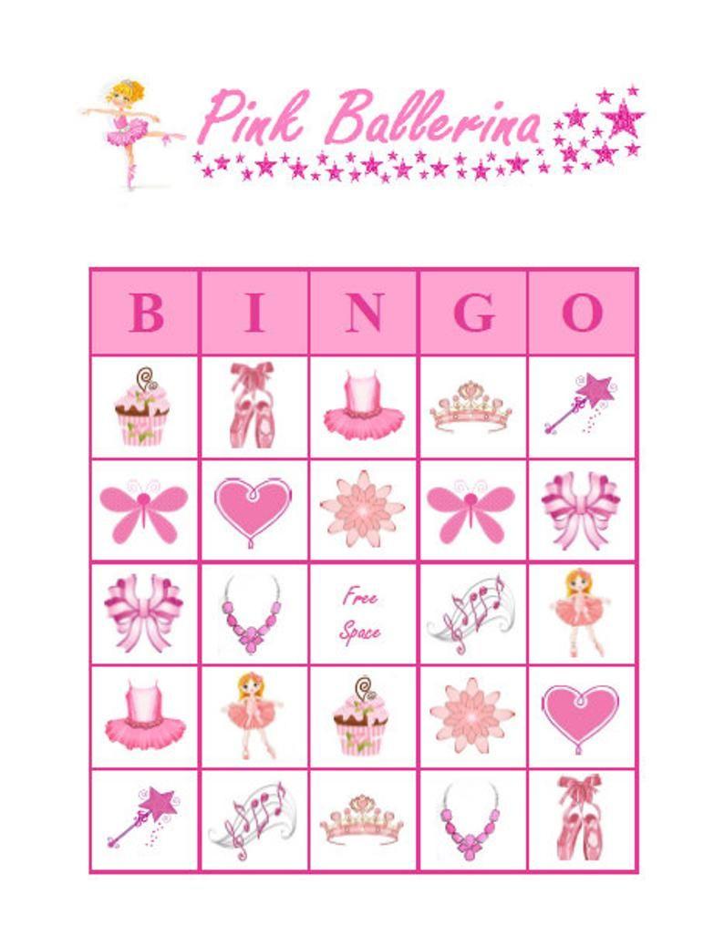 Pink Ballerina Bingo 30 Printable Girl Birthday Party Bingo