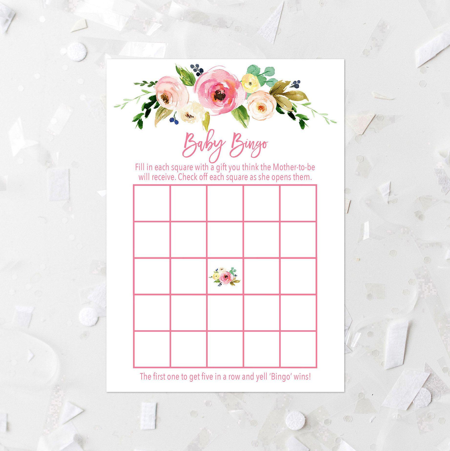 Pink Floral Baby Bingo Game, Printable, Bingo Card, Boho