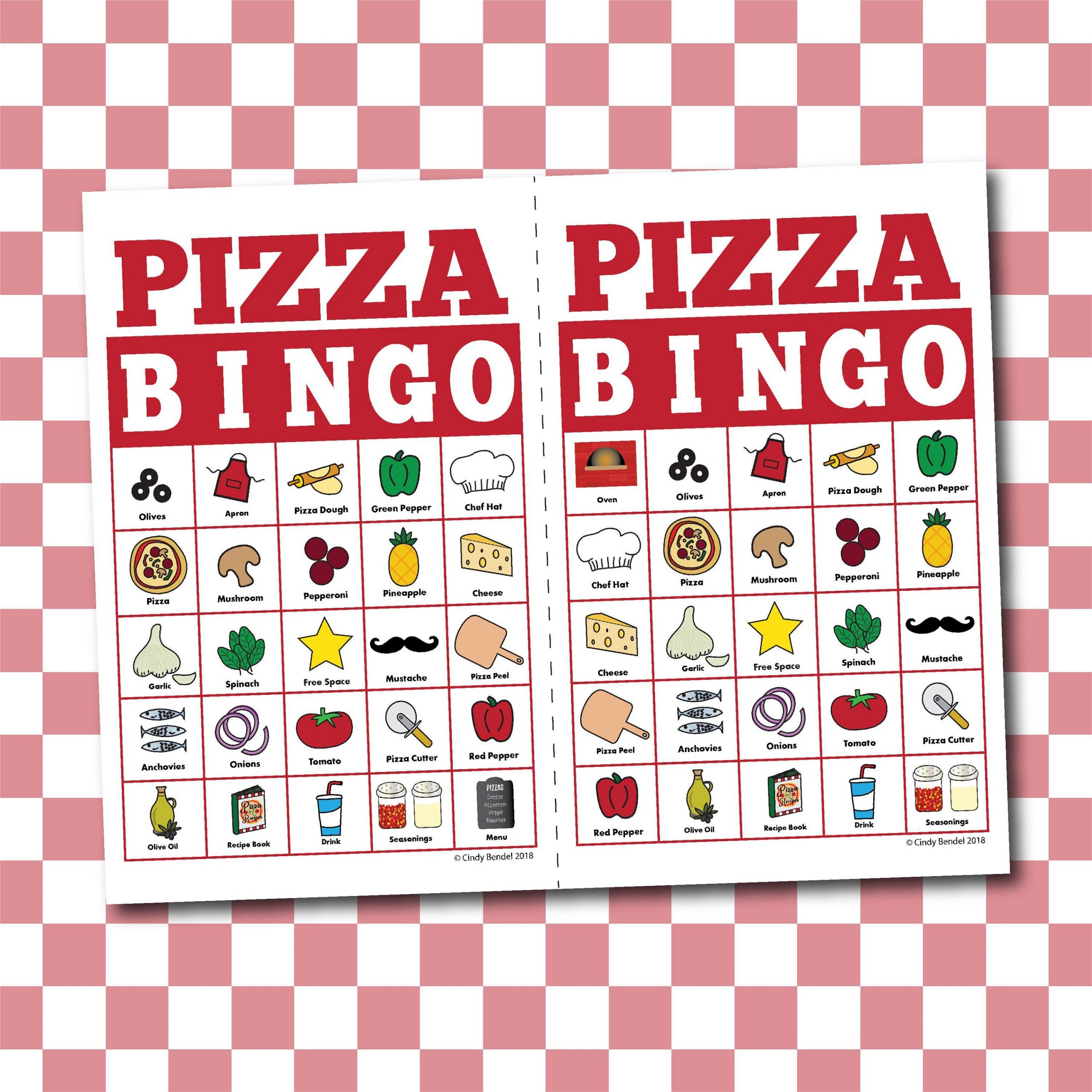 Pizza Bingo Board Game - Memory Or Matching Game - Digital