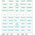 Plurals Bingo Cards   English Esl Worksheets For Distance