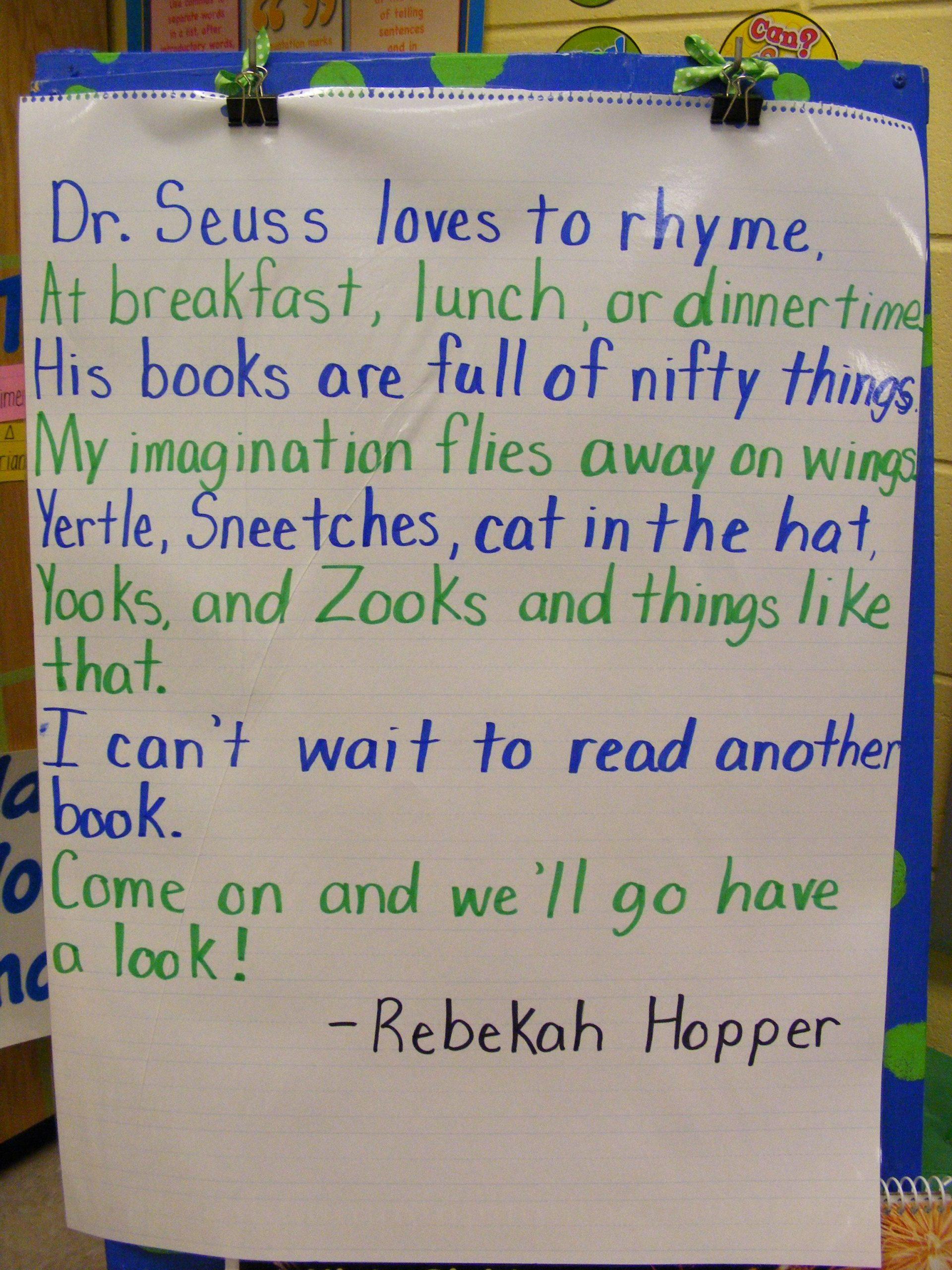 Poem: A Wonderful Poem About The Adventures Dr. Seuss' Books
