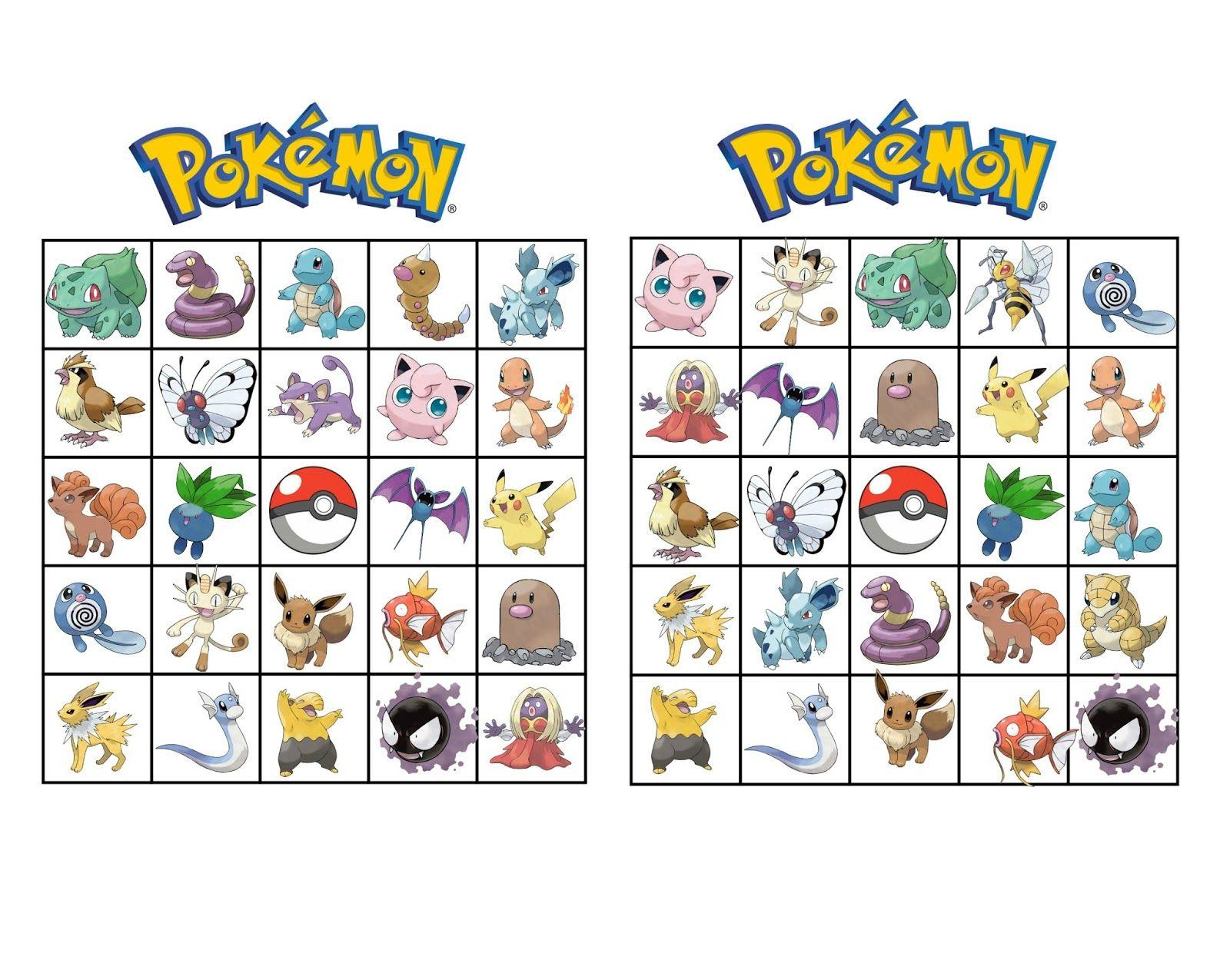 Pokemon Bingo | Pokemon, Synttärit, Tulostettava