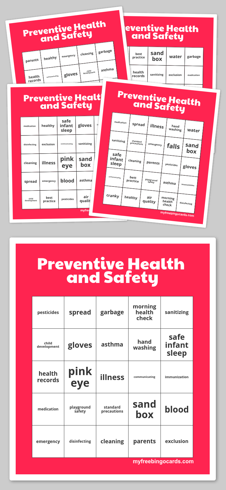 Preventive Health And Safety Bingo | Activity Ideas | Bingo