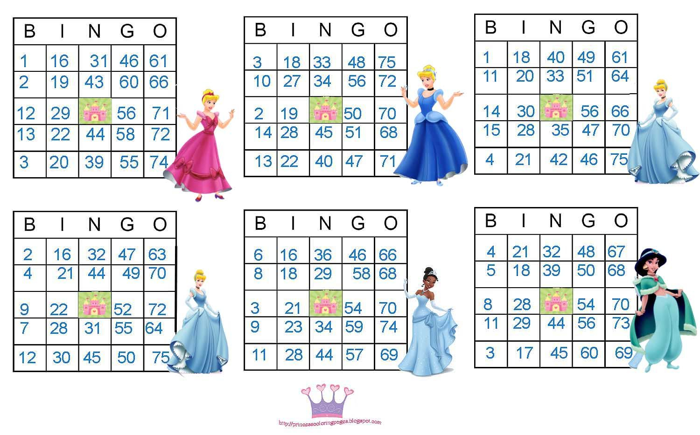 Princess Bingo Cards Free | Princess Bingo, Princess Card