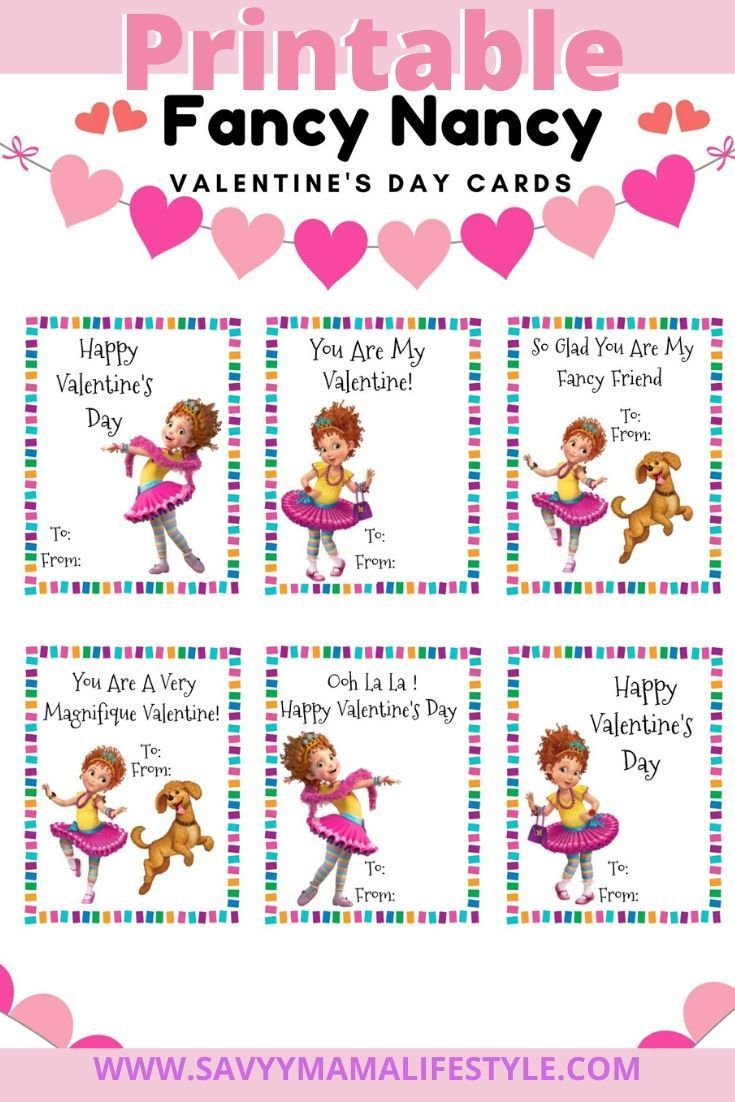 Print These Free Fancy Nancy Disney Valentines Day Cards