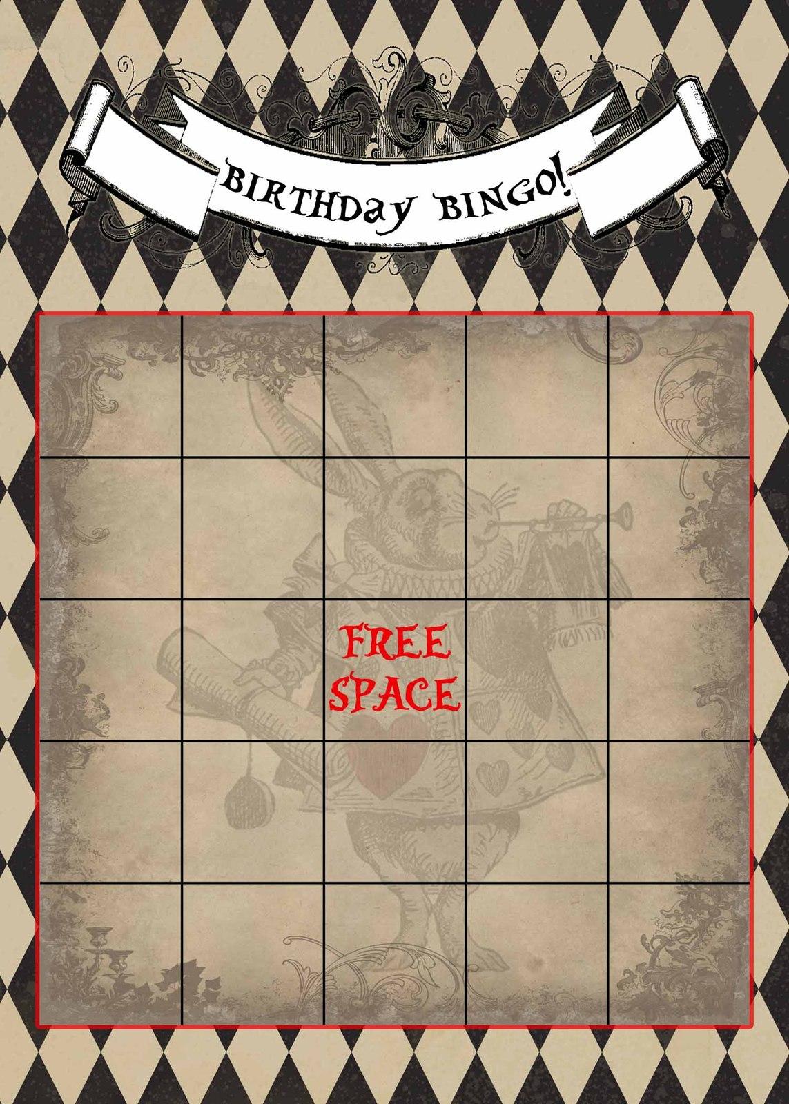 Printable Alice In Wonderland Vintage Bingo And 50 Similar Items