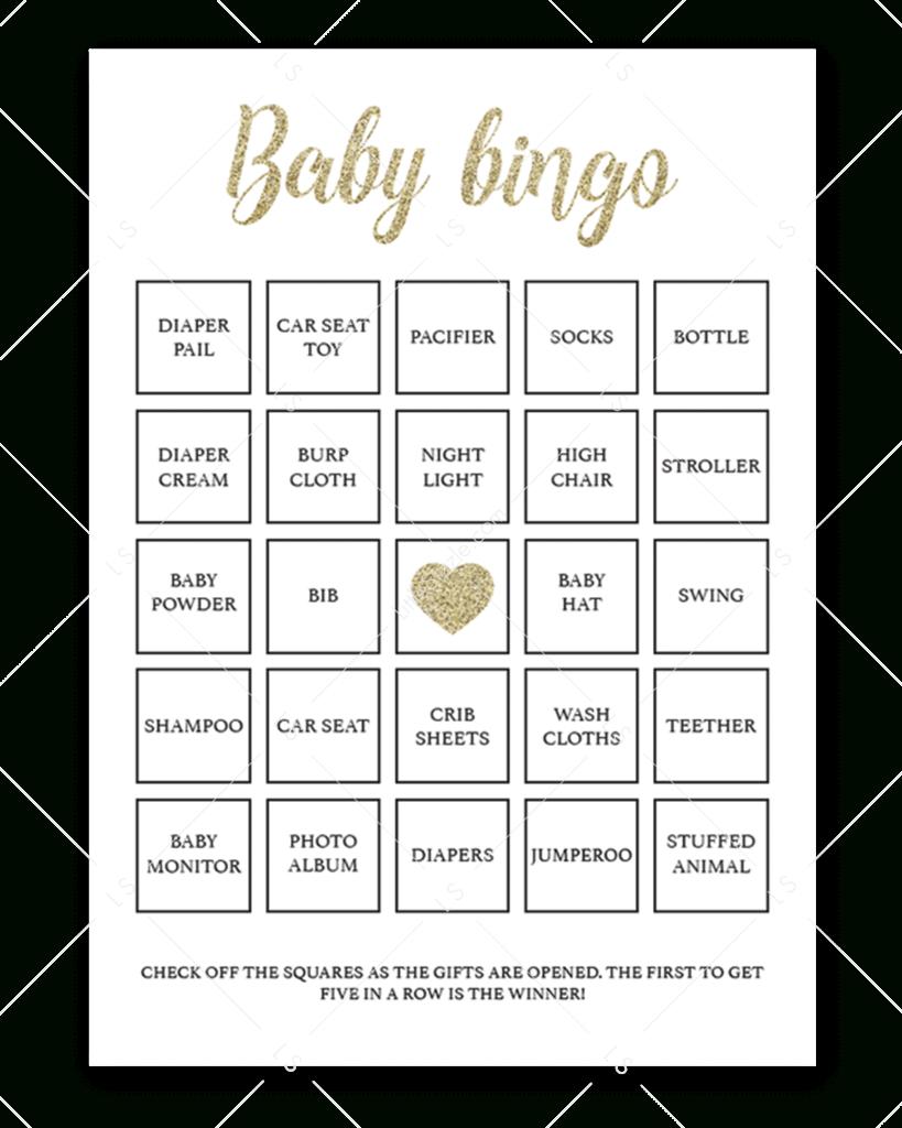 Printable Baby Shower Bingo Cards Gold | Baby Shower Bingo