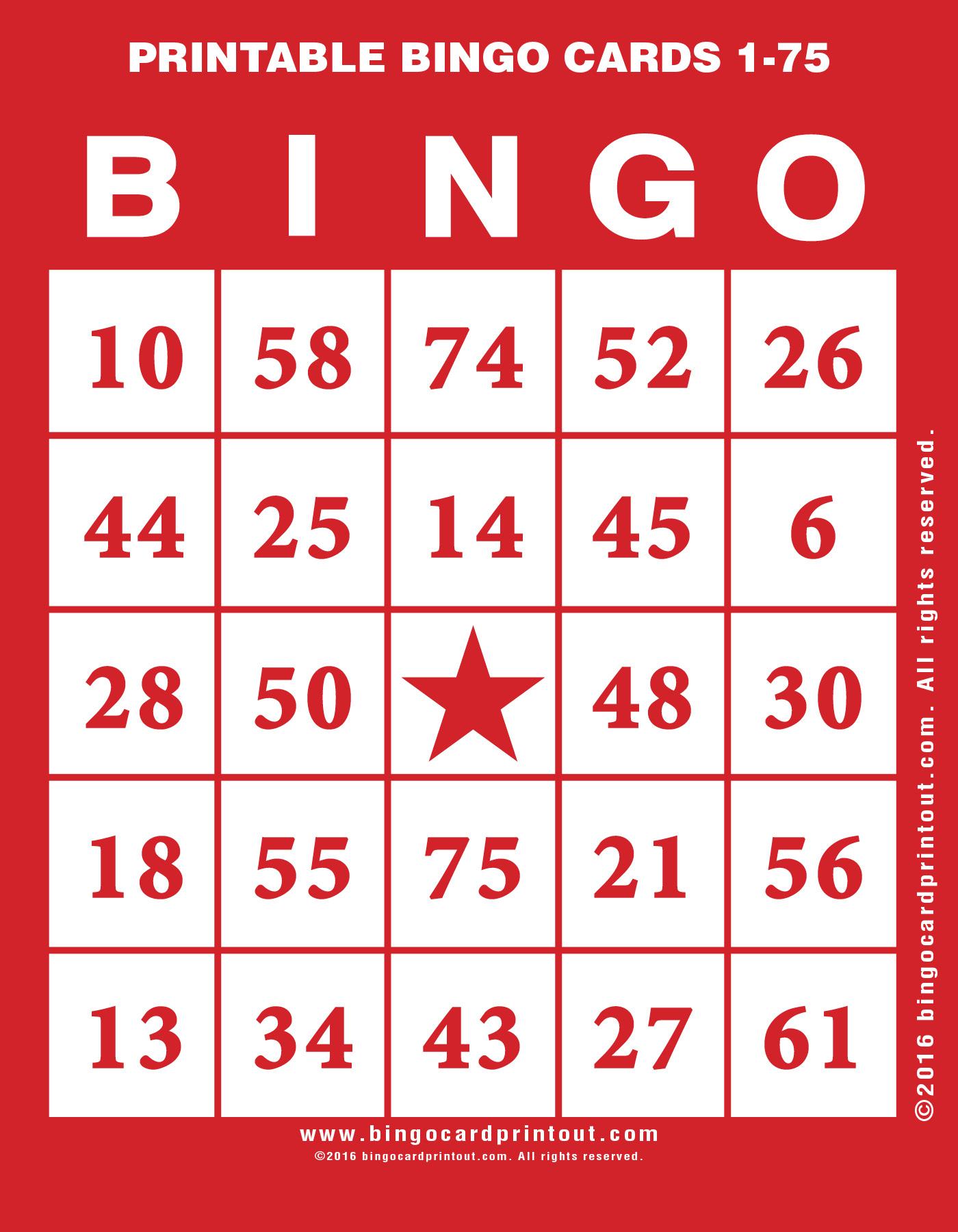Printable Bingo Cards 1-75 - Bingocardprintout