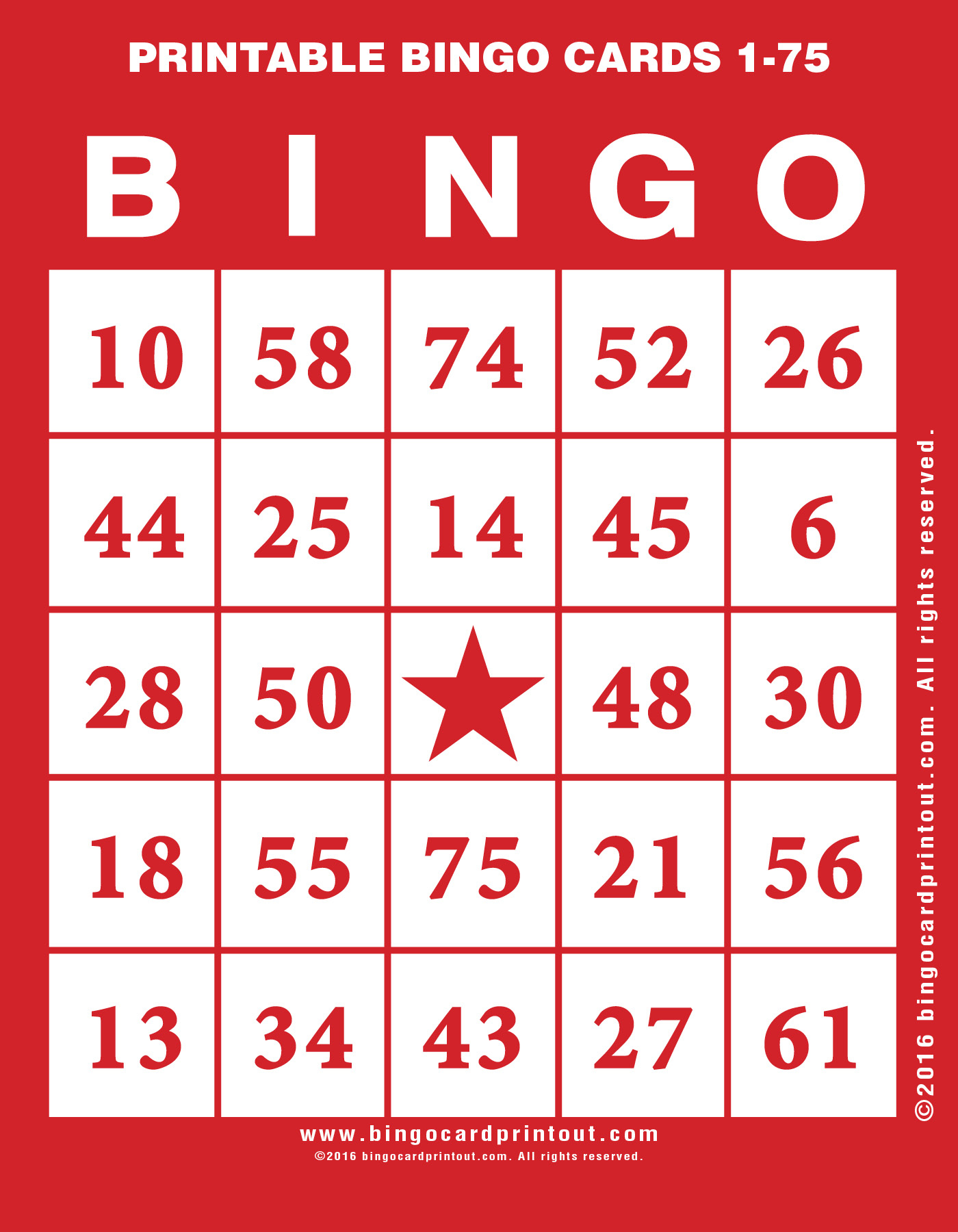 Printable Bingo Cards 1-75 - Bingocardprintout