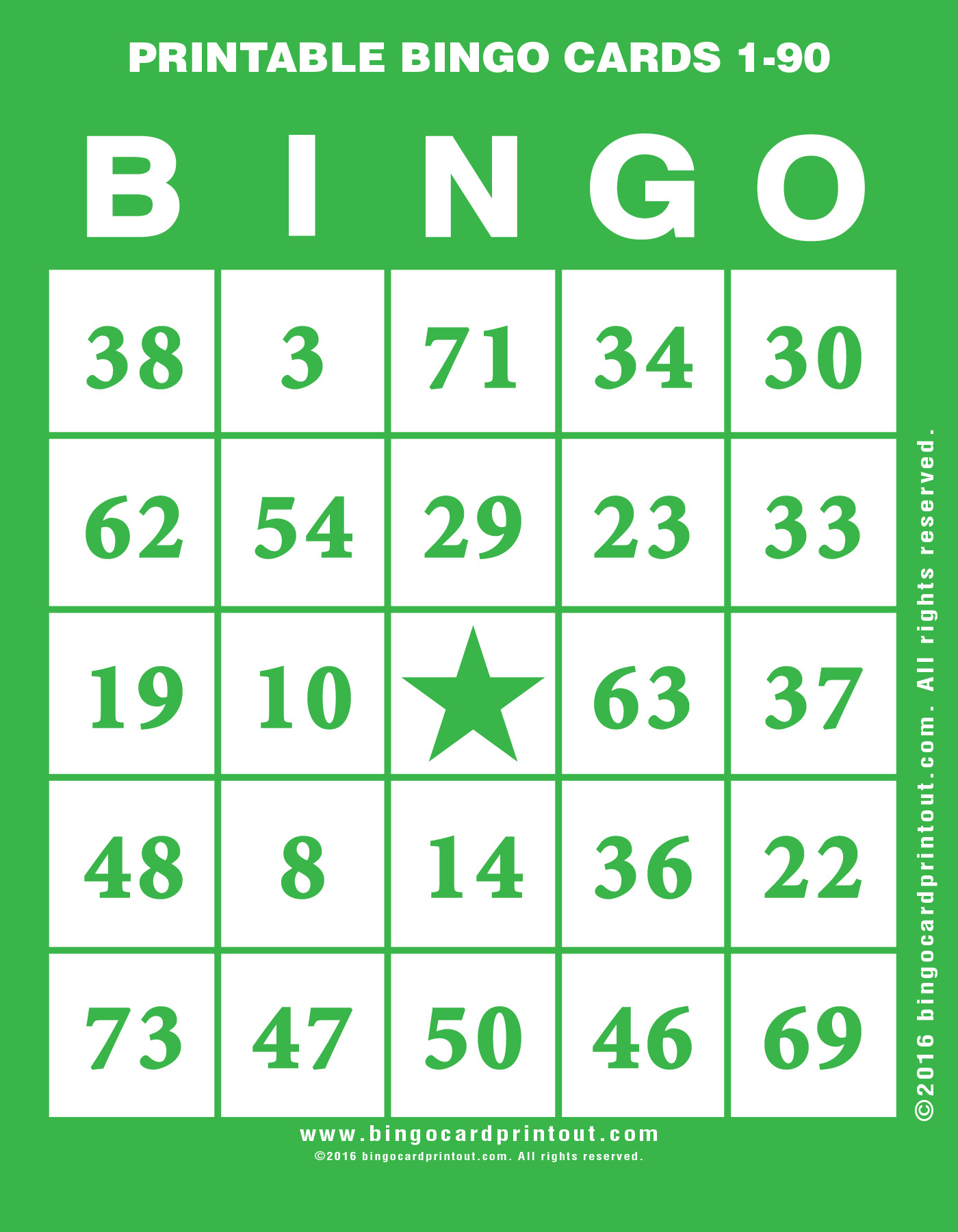 Printable Bingo Cards 1-90 - Bingocardprintout