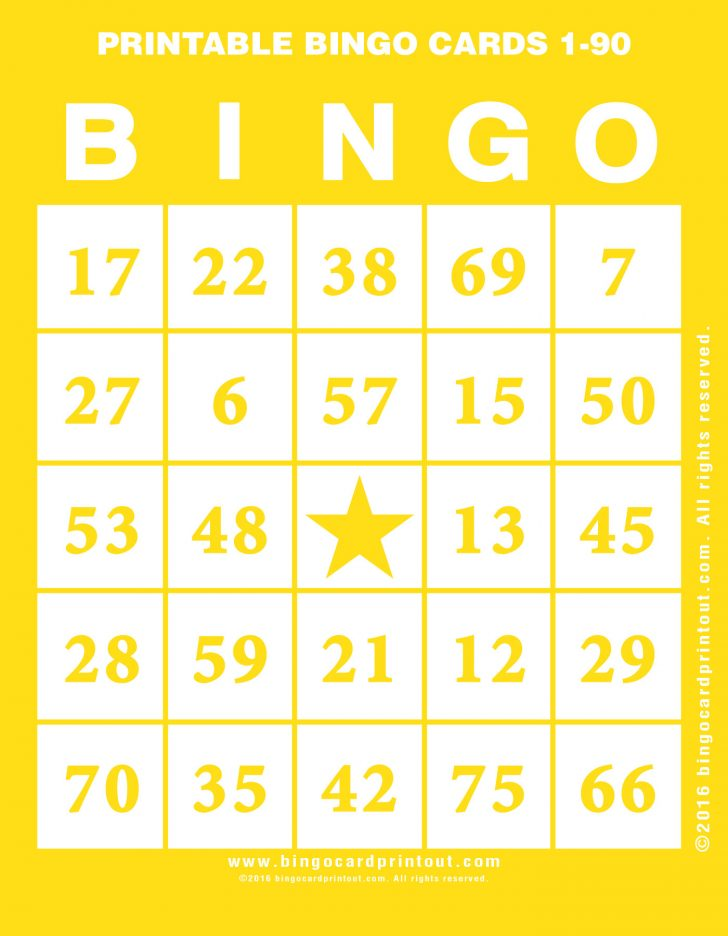 Bingo Cards Numbers Printable