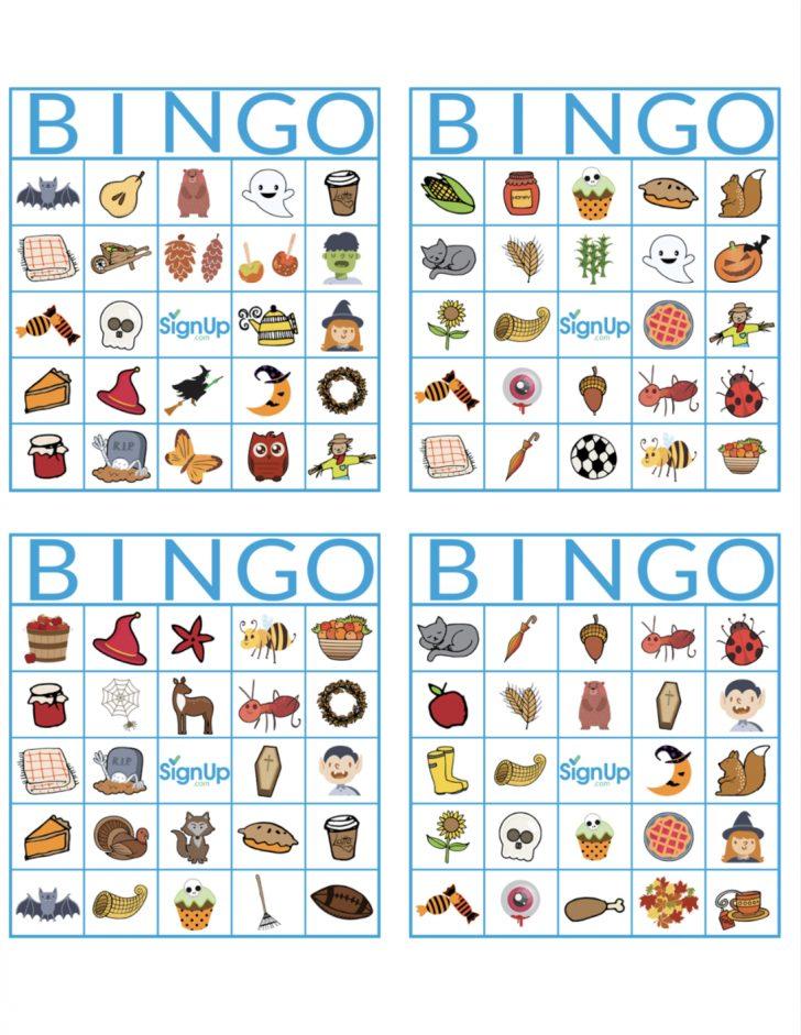 Printable Fall Themed Bingo Cards