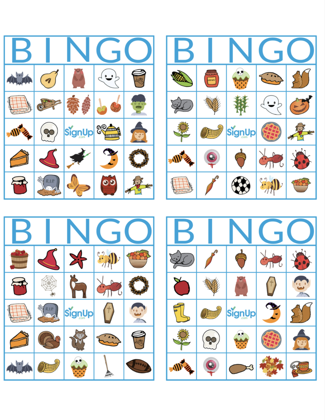 Printable Bingo Cards: Fun Fall Classroom Party Activity