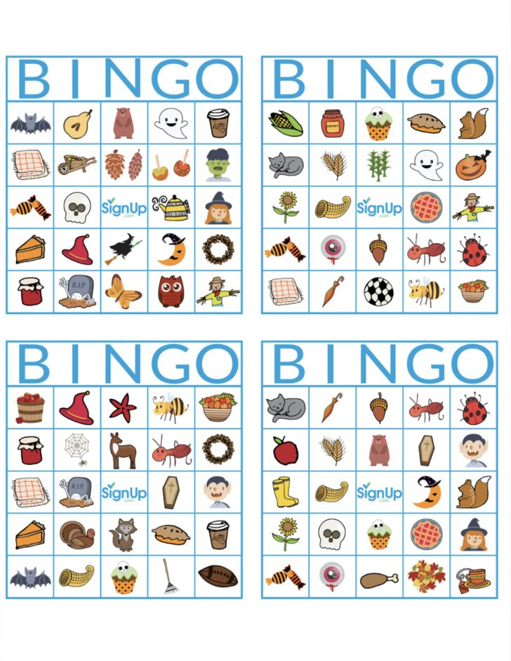 Free Printable Fall Bingo Cards For Large Groups