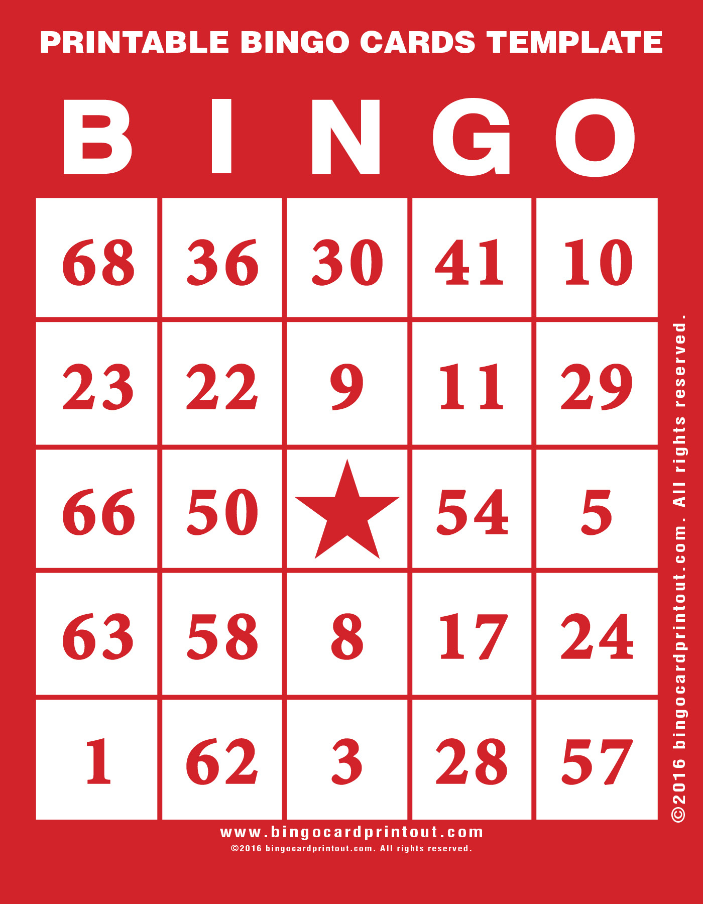 Printable Bingo Cards Template - Bingocardprintout