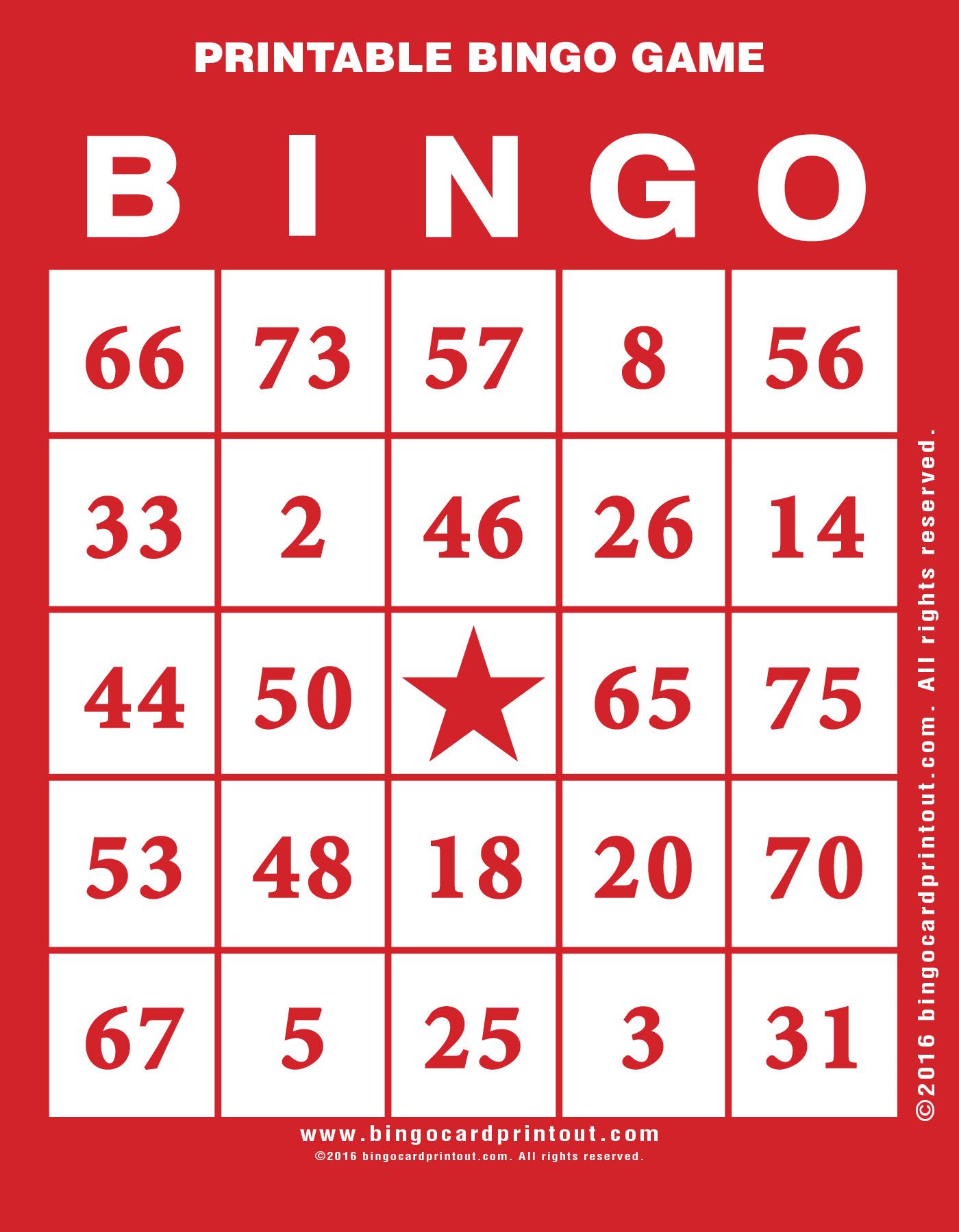 Printable Bingo Game - Bingocardprintout