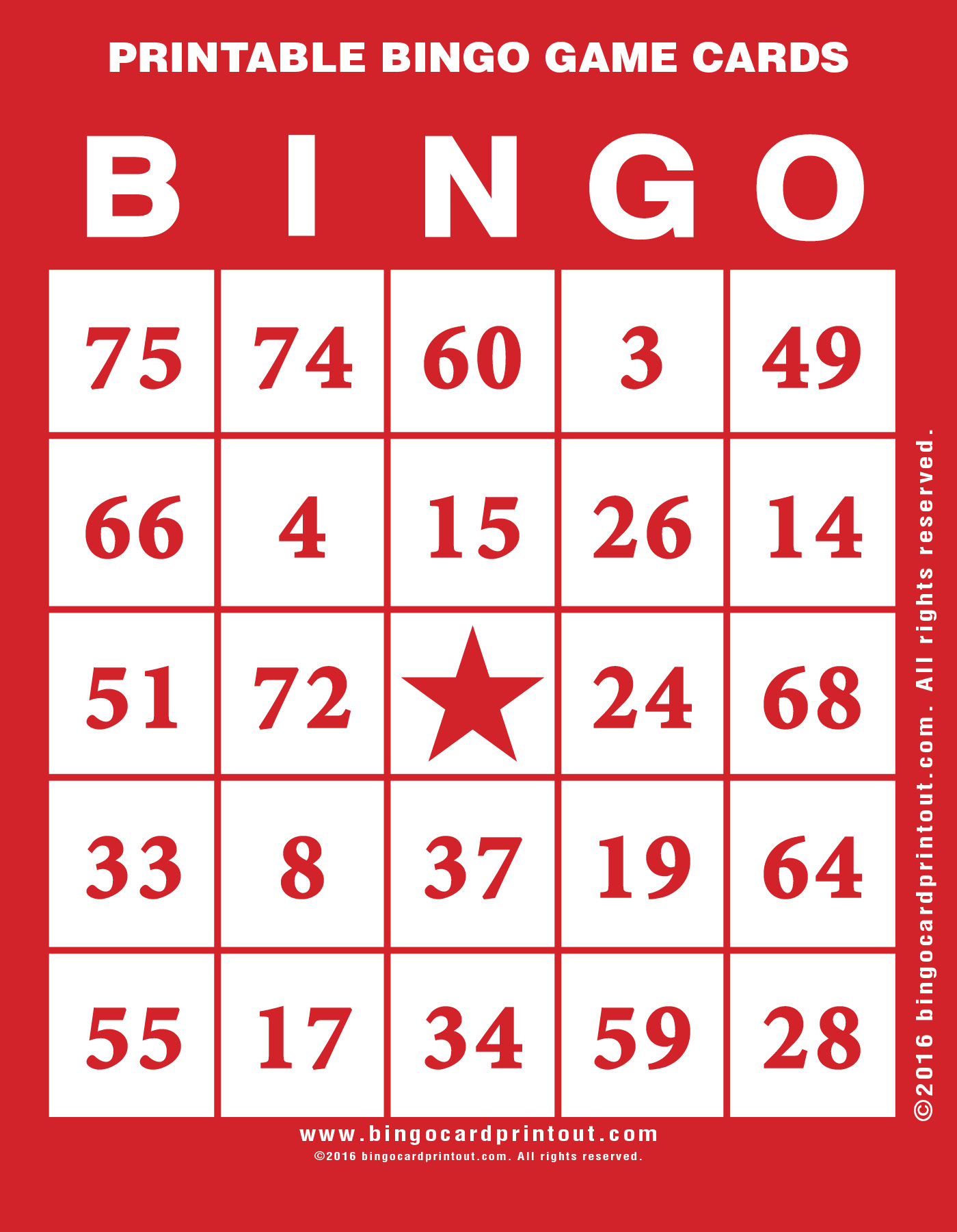 Printable Bingo Game Cards - Bingocardprintout