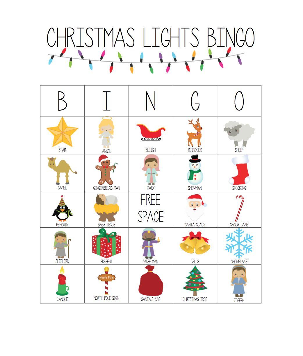 Printable Christmas Lights Bingo Game | Christmas Bingo