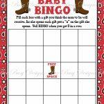 Printable Cowboy Boot Baby Bingo Game Instant Download
