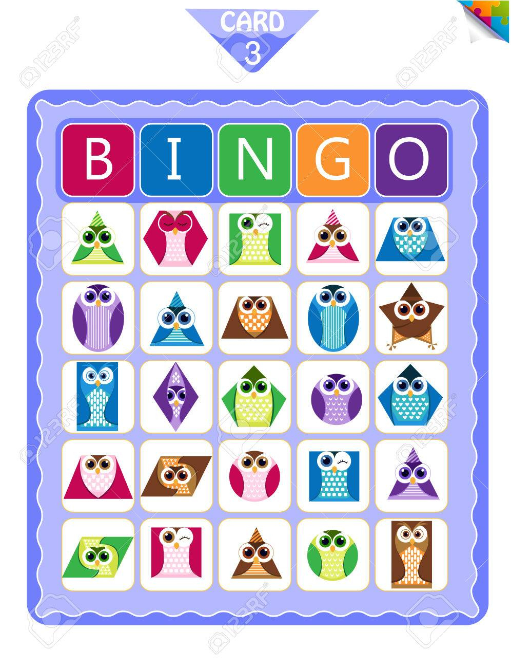 Printable Educational Bingo Game For Preschool Kids With Shapes..