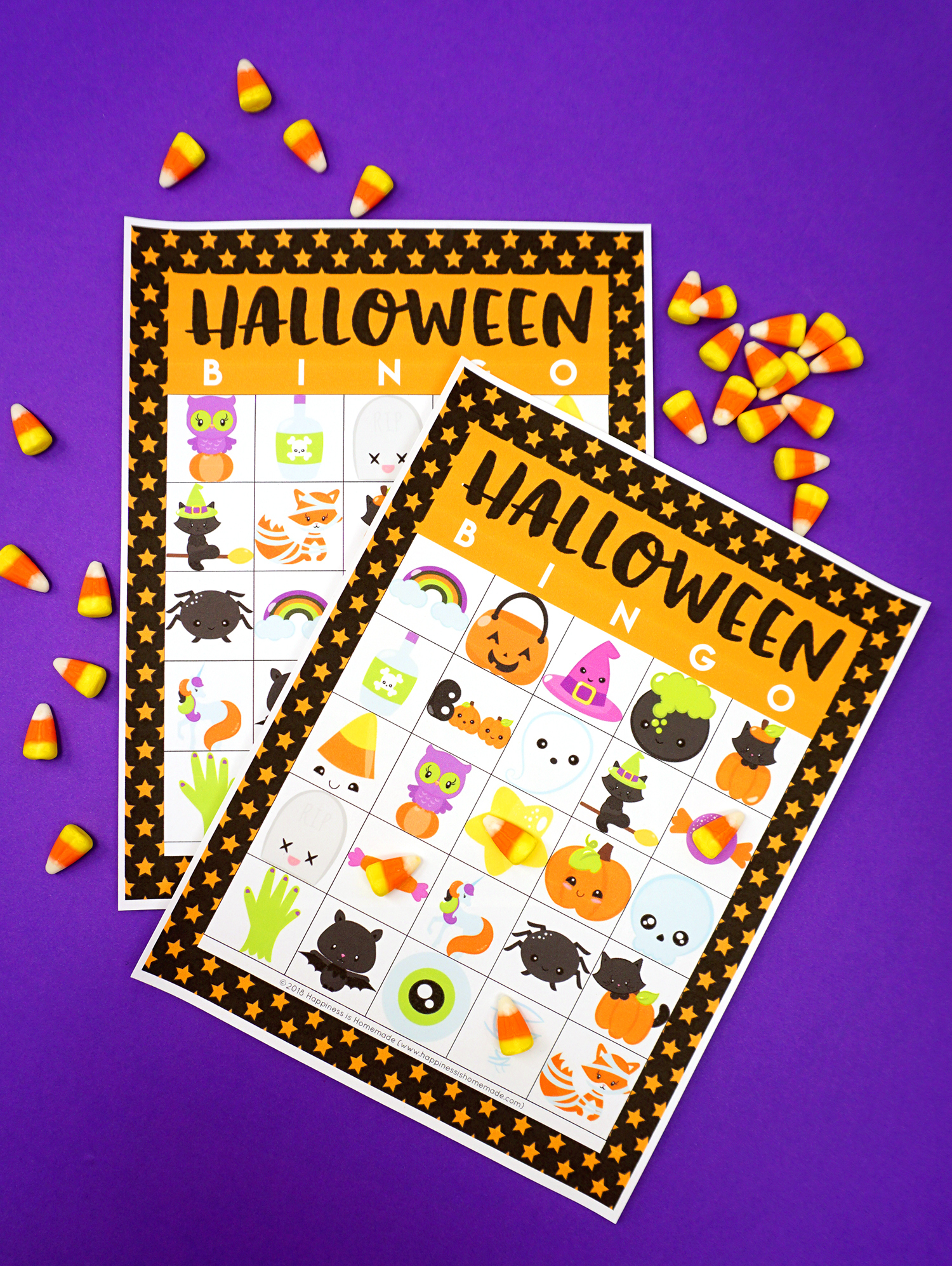 Printable Halloween Bingo Game Cards - Happiness Is Homemade